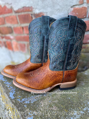 Anderson Bean Youth Tan & Aqua Square Toe Western Boot ABK1113 - Painted Cowgirl Western Store