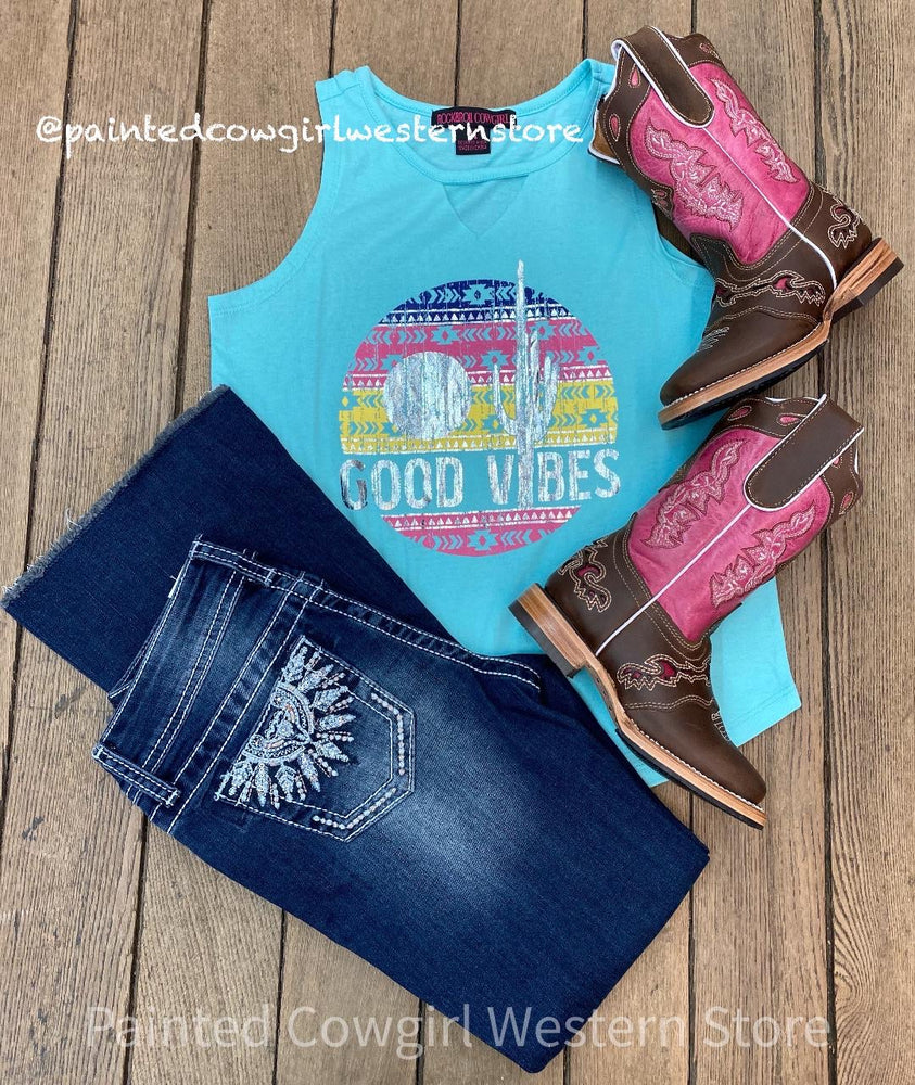 Rock & Roll Cowgirl Girls Good Vibes Turquoise Tank G1-5792
