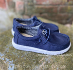 Hey Dude Youth Wally Navy Casual Shoes 130132500