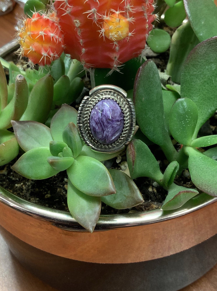 Thunderbird Jewelry Sterling Silver Oval Charoite Ring LR0468X