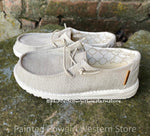 Hey Dude Wendy Youth Linen Beige Casual Shoes