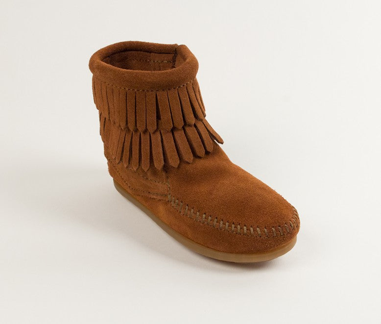 Minnetonka Children/ Youth Brown Fringe Side Zip Moccasin Boot 2292