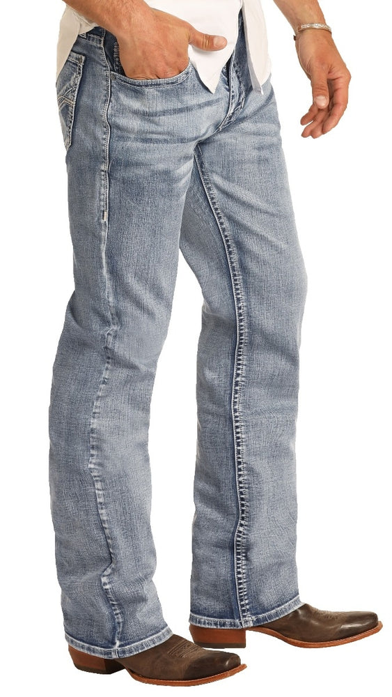 Rock & Roll Cowboy Men's Relaxed Fit Light Wash Straight Leg Jeans M0S4253 - Painted Cowgirl Western Store