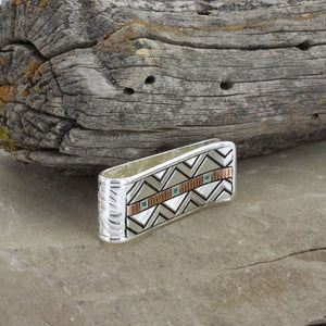 Load image into Gallery viewer, Montana Silversmiths Two Tone Southwestern Unending Trails Money Clip MCL3714TQ - Painted Cowgirl Western Store