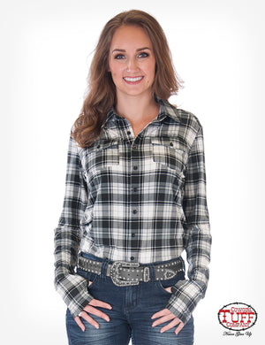 Cowgirl Tuff Women's Black & White Plaid Sport Jersey Pullover Shirt H00629