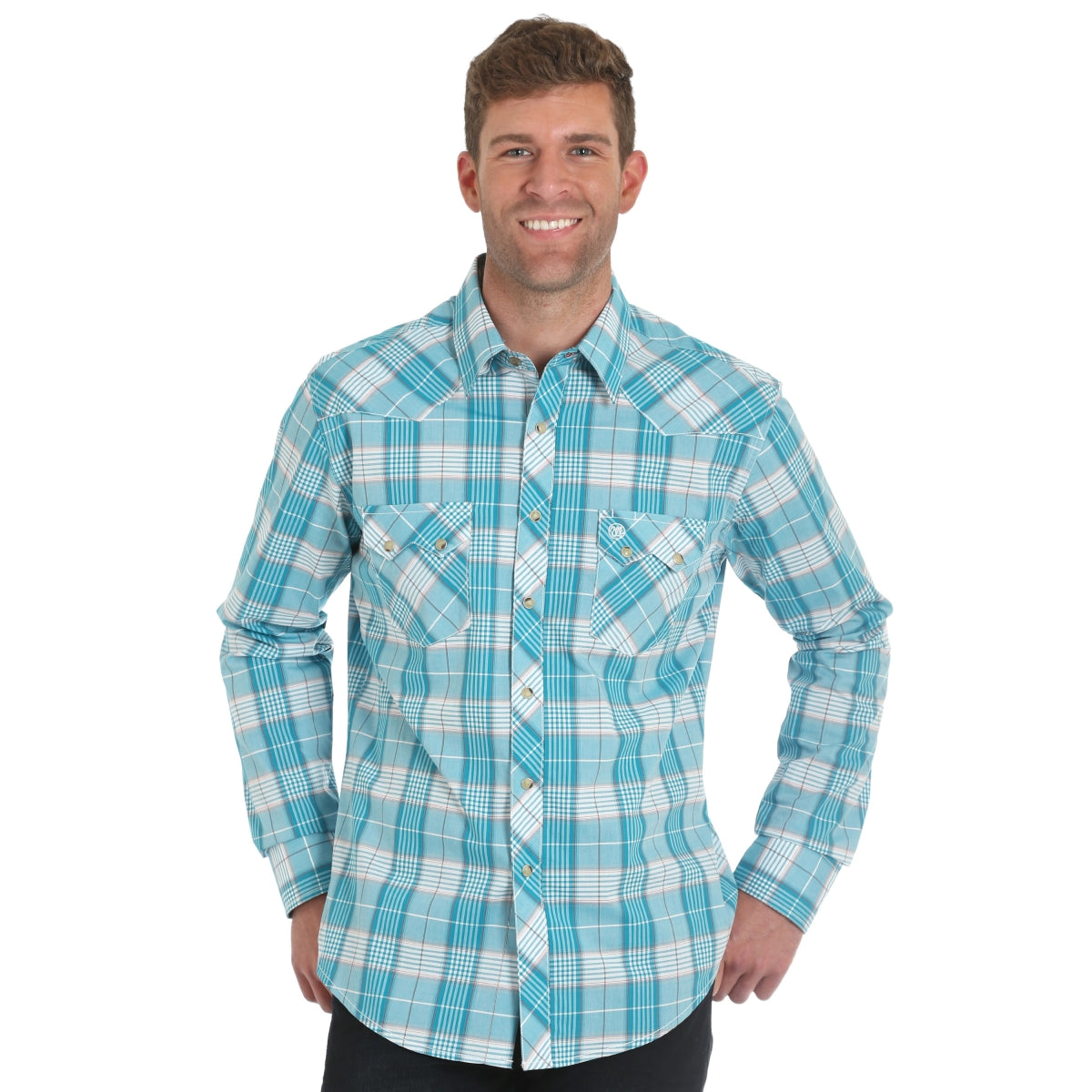 c3855cfa Wrangler Men's Retro Turquoise & Red Plaid Snap Up Western Shirt MVR380M  SALE. Wrangler ...