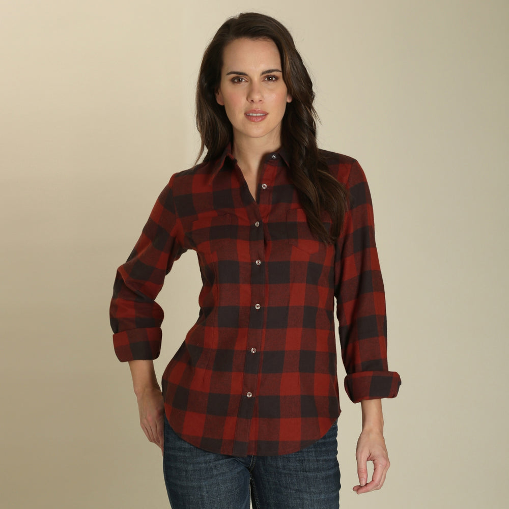 Wrangler Women's Red & Black Plaid Button Up Western Shirt LRW430M - Painted Cowgirl Western Store