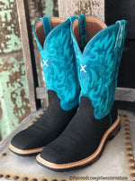 Twisted X Women's Charcoal & Turquoise Lite Square Toe Work Boot WXB0001