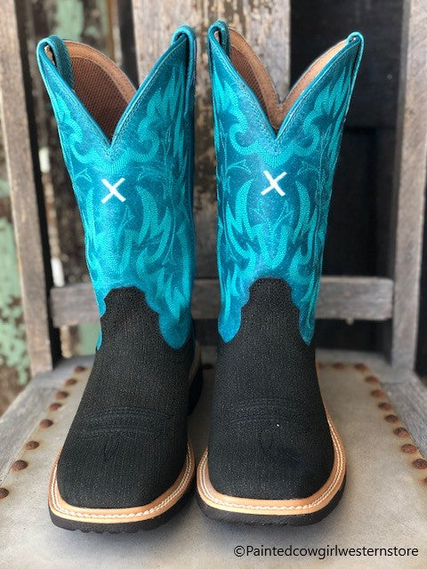 Twisted X Women's Charcoal & Turquoise Lite Square Toe Work Boot WXB0001 - Painted Cowgirl Western Store