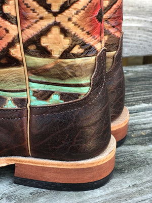 Anderson Bean Women's Rootbeer & Multi Aztec Square Toe Boots 4223M - Painted Cowgirl Western Store