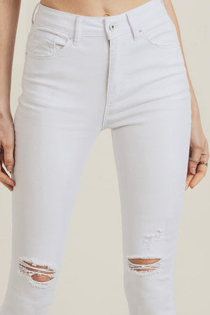 Simple Desires White Distressed Skinny Jeans