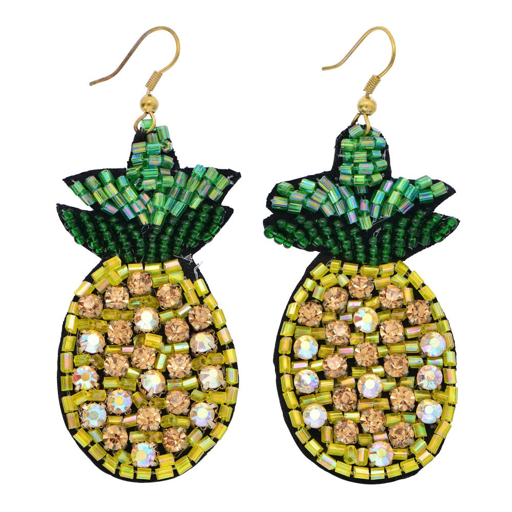 Crystal Pineapple Beaded Earrings