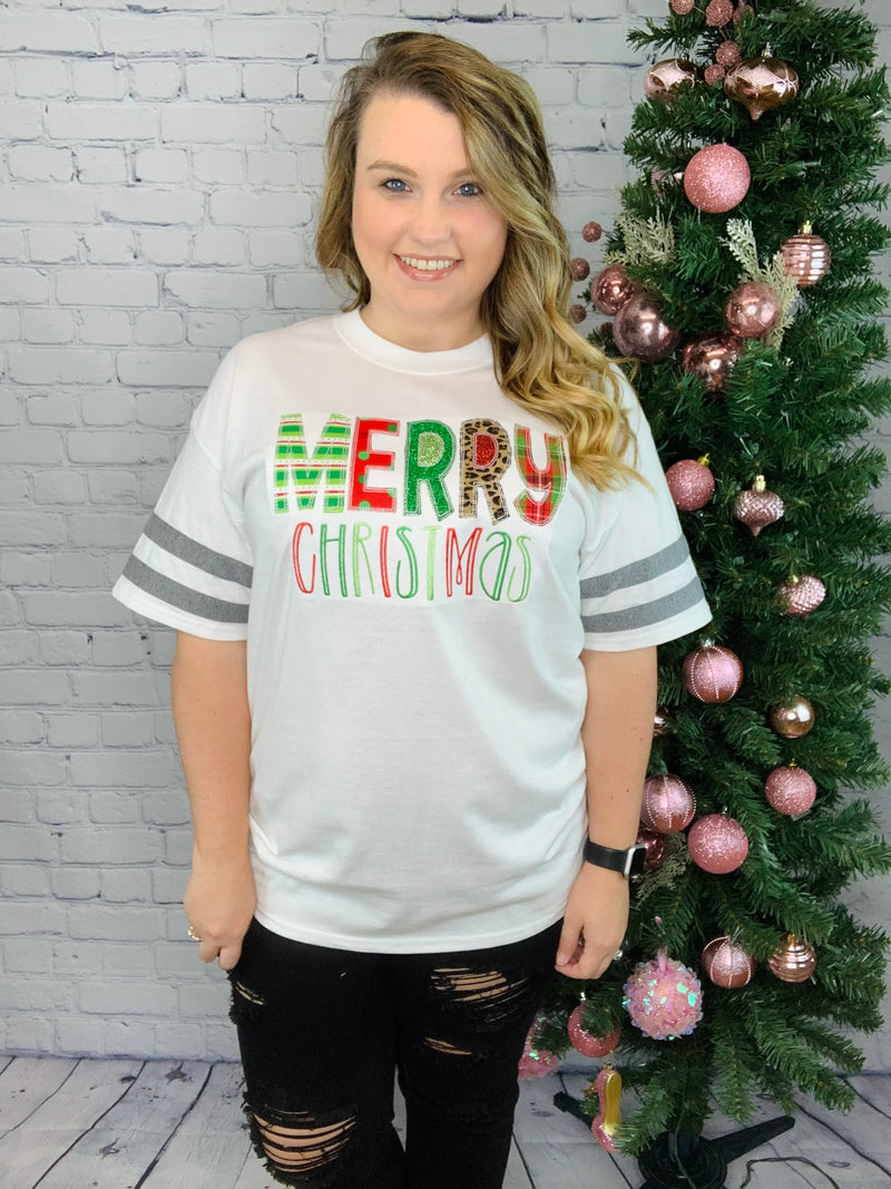 Merry Christmas Applique Jersey Tee