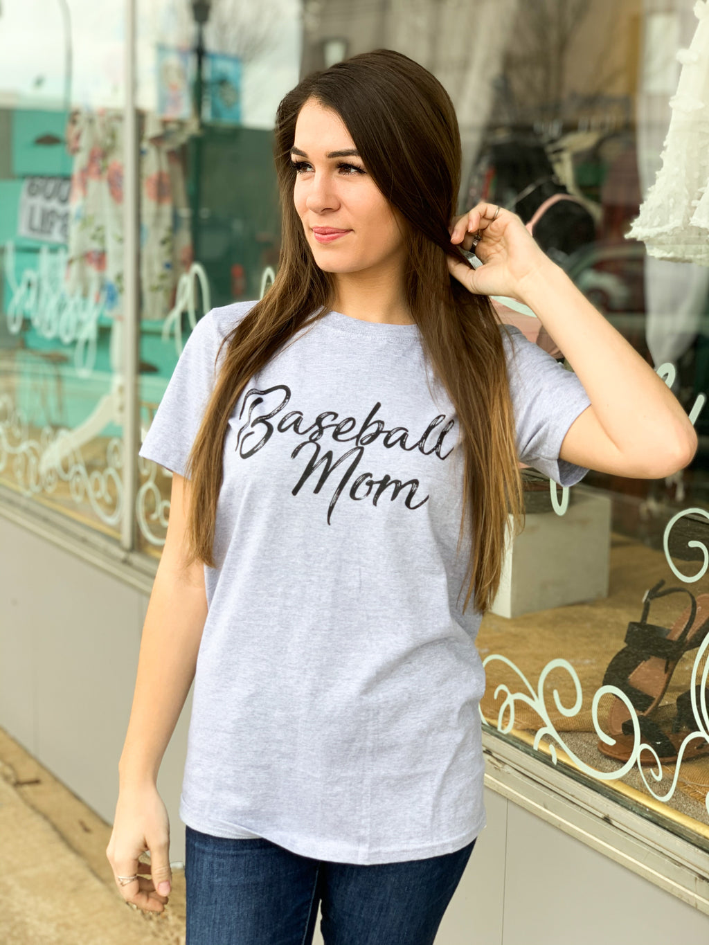 Script Baseball Mom Tee - The Sassy Owl Boutique