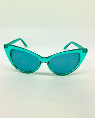 959d12f42c0 Clear Cat Eye Sunglasses-Green-Front