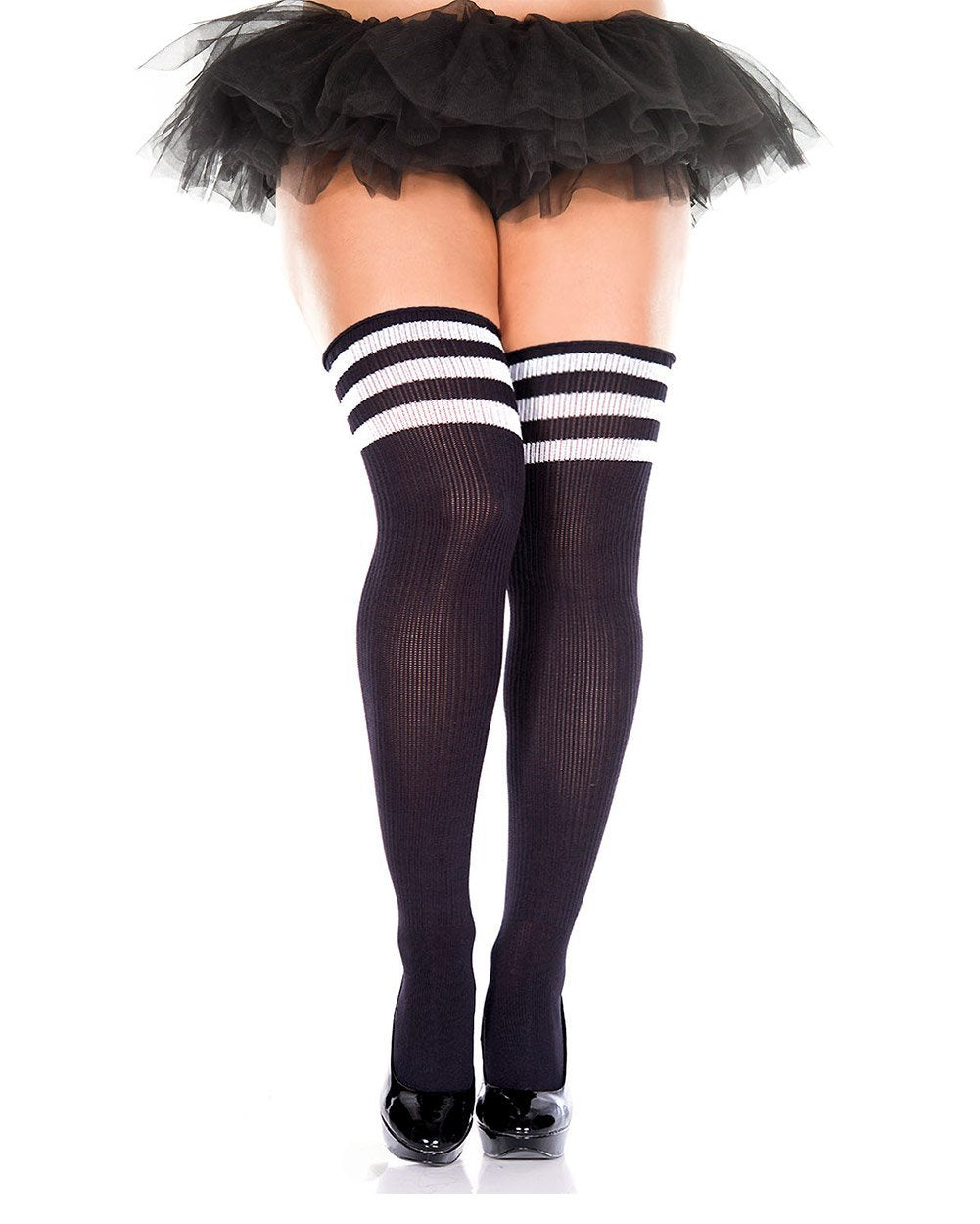 9d1e808701b107 Plus Size Athlete Acrylic Thigh Highs with Striped Top-Black/White ...