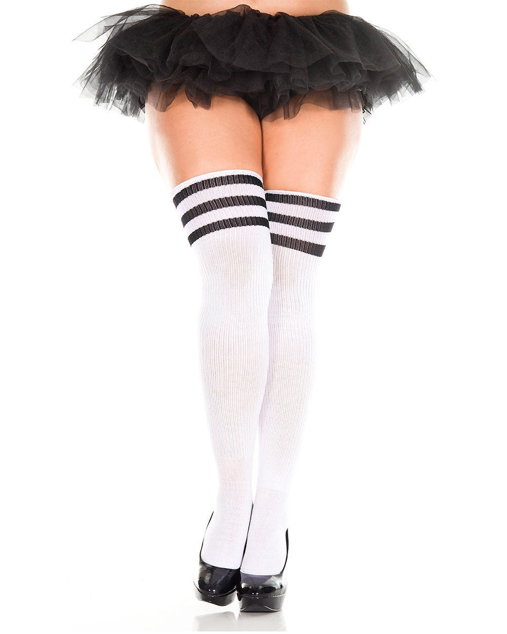 d64ca195c66e30 ... Plus Size Athlete Acrylic Thigh Highs with Striped Top-White/Black