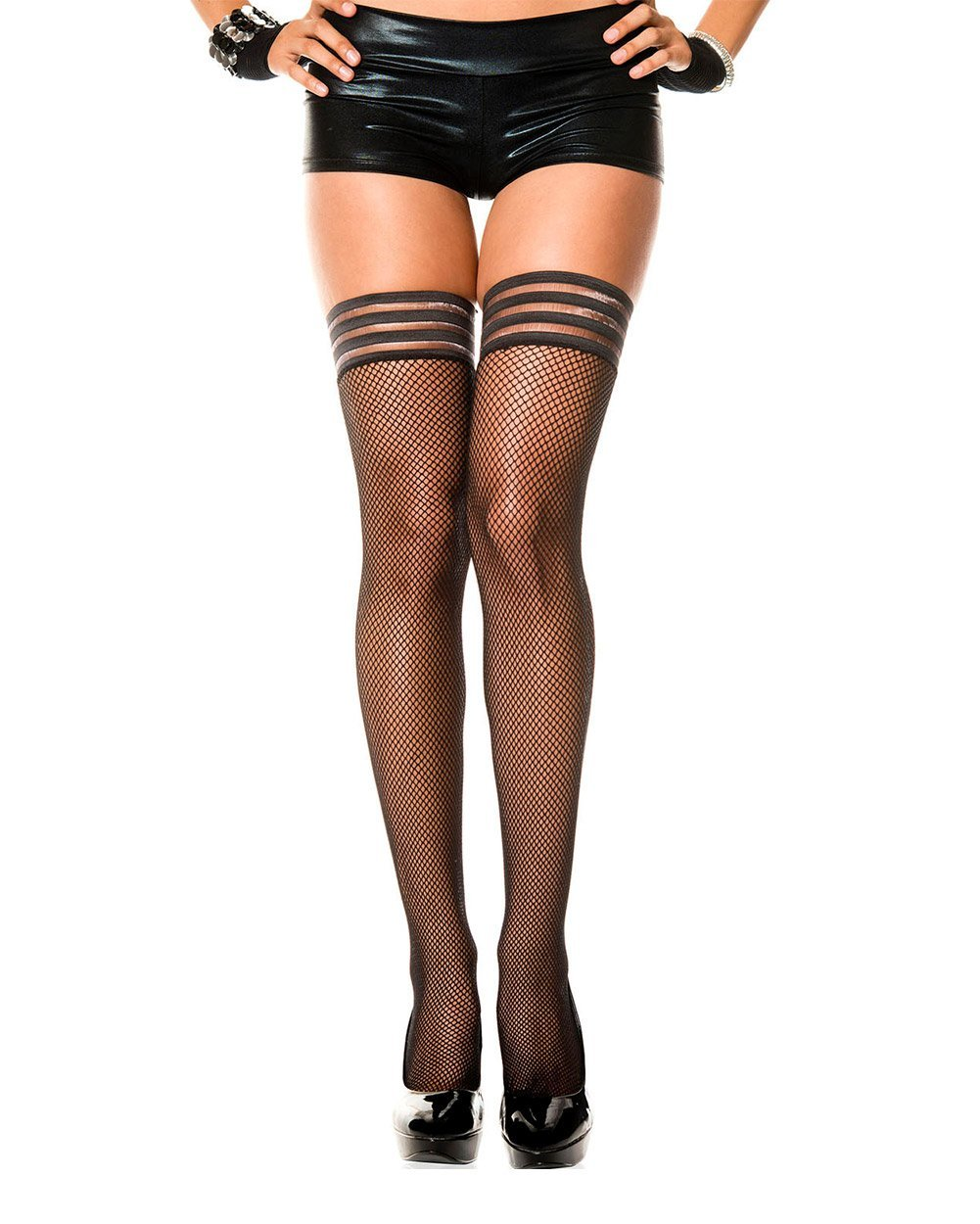 150329ab7 Ribbed Top Fishnet Thigh Highs - EDM Sauce