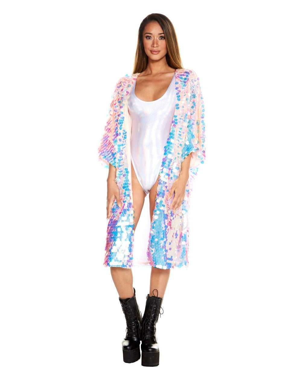 b6f497235 Party Monster Sequin Kimono Cover Up - EDM Sauce