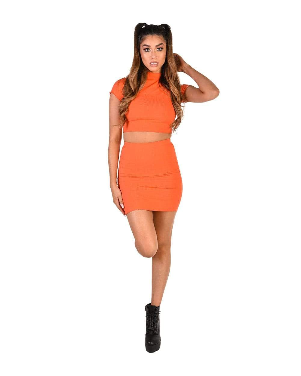 a03d9fc1c4d So Sassy High Neck Crop Top & Skirt Set - EDM Sauce