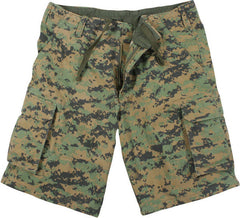 Rothco Woodland Digital Camouflage Vintage Military Paratrooper Cargo Shorts