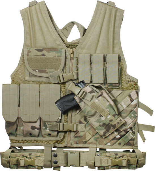 Rothco Multi Cam Military Cross Draw Adjustable Tactical Vest