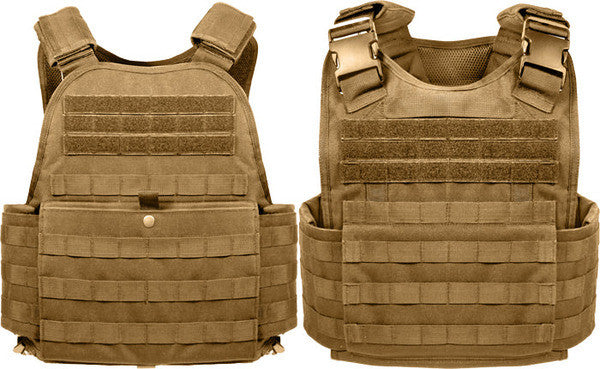 Rothco Coyote Brown Military MOLLE Tactical Plate Carrier Assault Vest