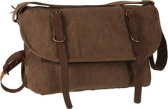 Rothco Brown Vintage Military Canvas Messenger Shoulder Bag With Leather Accents