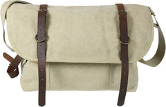 Rothco Khaki Vintage Military Canvas Messenger Shoulder Bag With Leather Accents