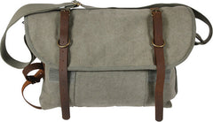 Rothco Olive Drab Vintage Military Canvas Messenger Shoulder Bag With Leather Accents