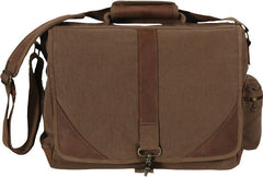 Rothco Brown Vintage Military Urban Canvas Tactical Pioneer Laptop With Leather Accents