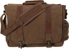 Rothco Earth Brown Vintage Military Canvas Laptop Shoulder Bag With Leather Accents