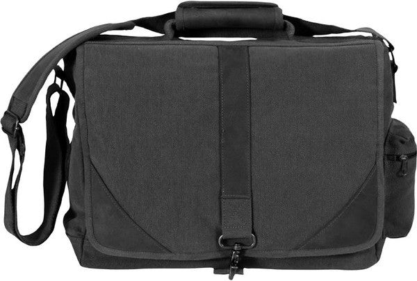 Rothco Black Vintage Military Urban Canvas Tactical Pioneer Laptop With Leather Accents
