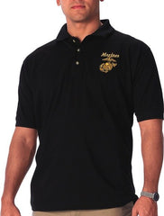 Rothco Black MARINES Embroidered Golf Shirt
