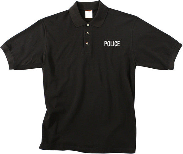 Rothco Black POLICE Law Enforcement Polo Golf Shirt