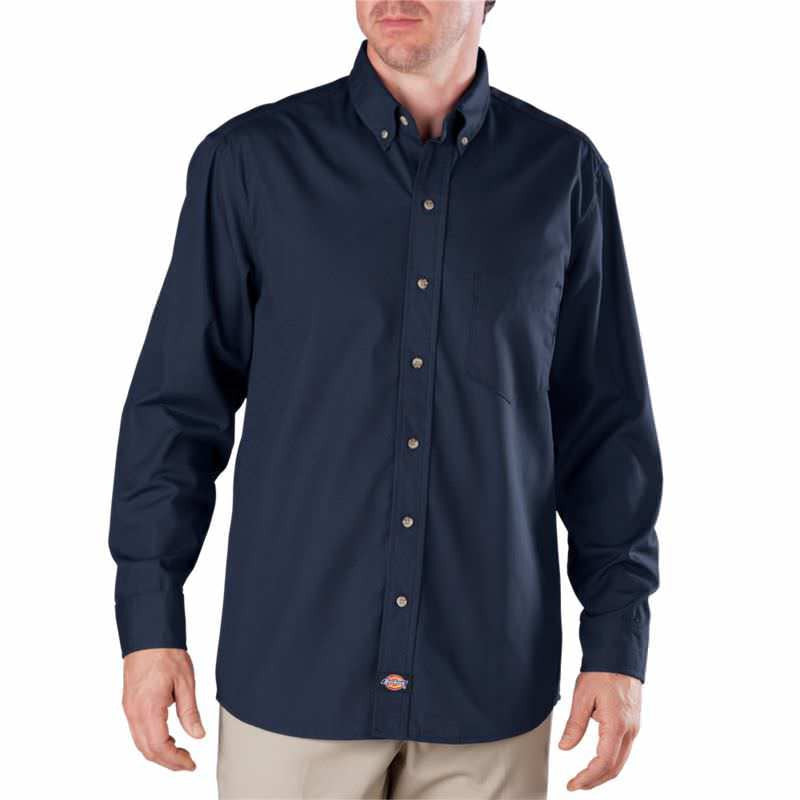 Dickies Premium Long Sleeve Industrial Button-Down Poplin Shirt