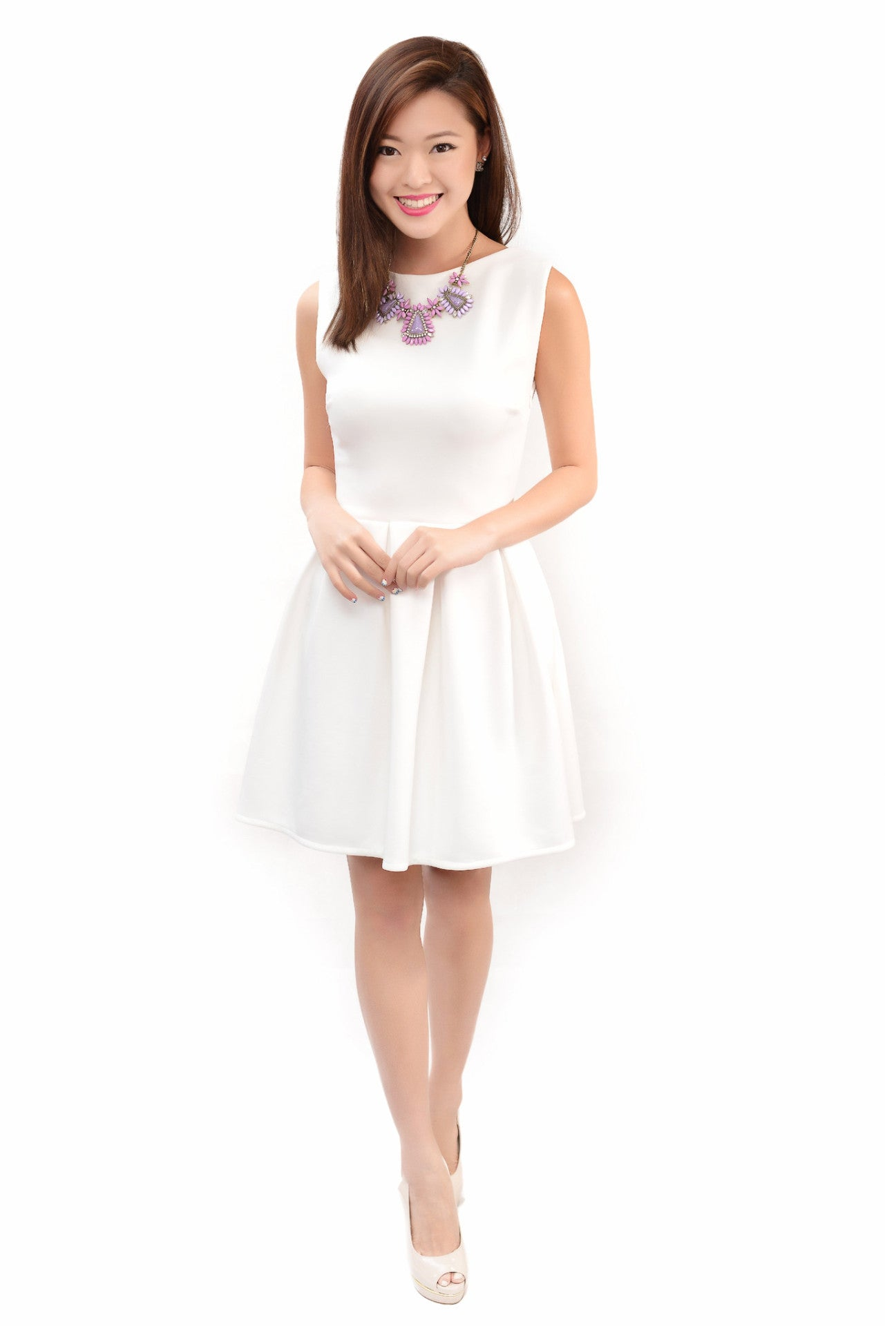 ABIGAIL SKATER DRESS IN WHITE
