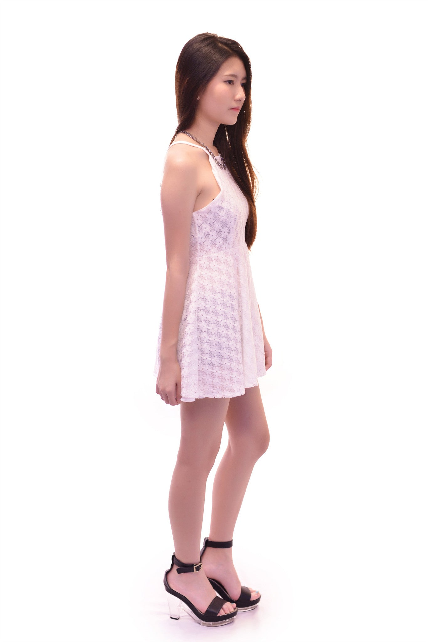 CALL ME LACE DRESS IN WHITE