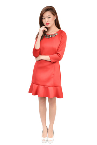 AMURI PETAL MID SLEEVE IN RED