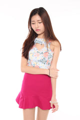Floral Heart Cut-In Crop - Blue