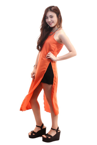 ORANGE SLIT DRESS