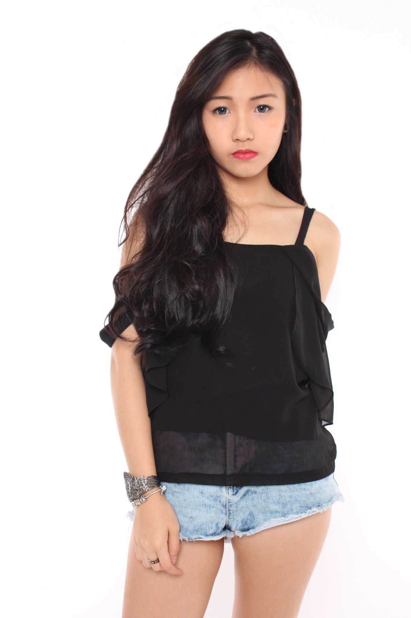 SWEETHEART FRILL TOP - BLACK