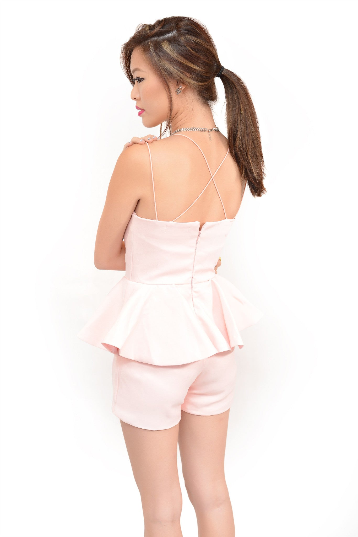 A Glam Doux Romper In Blush Pink