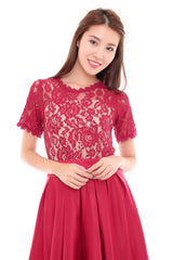 Amber Crochet Dress - Red