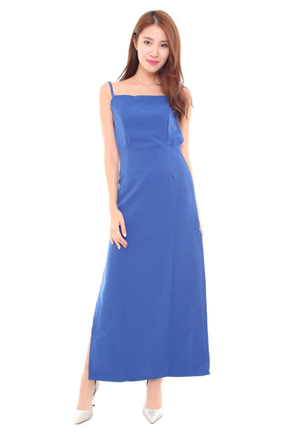 Kendall Slit Dress in Blue