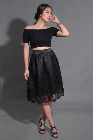 ELLA LACE SKIRT IN BLACK
