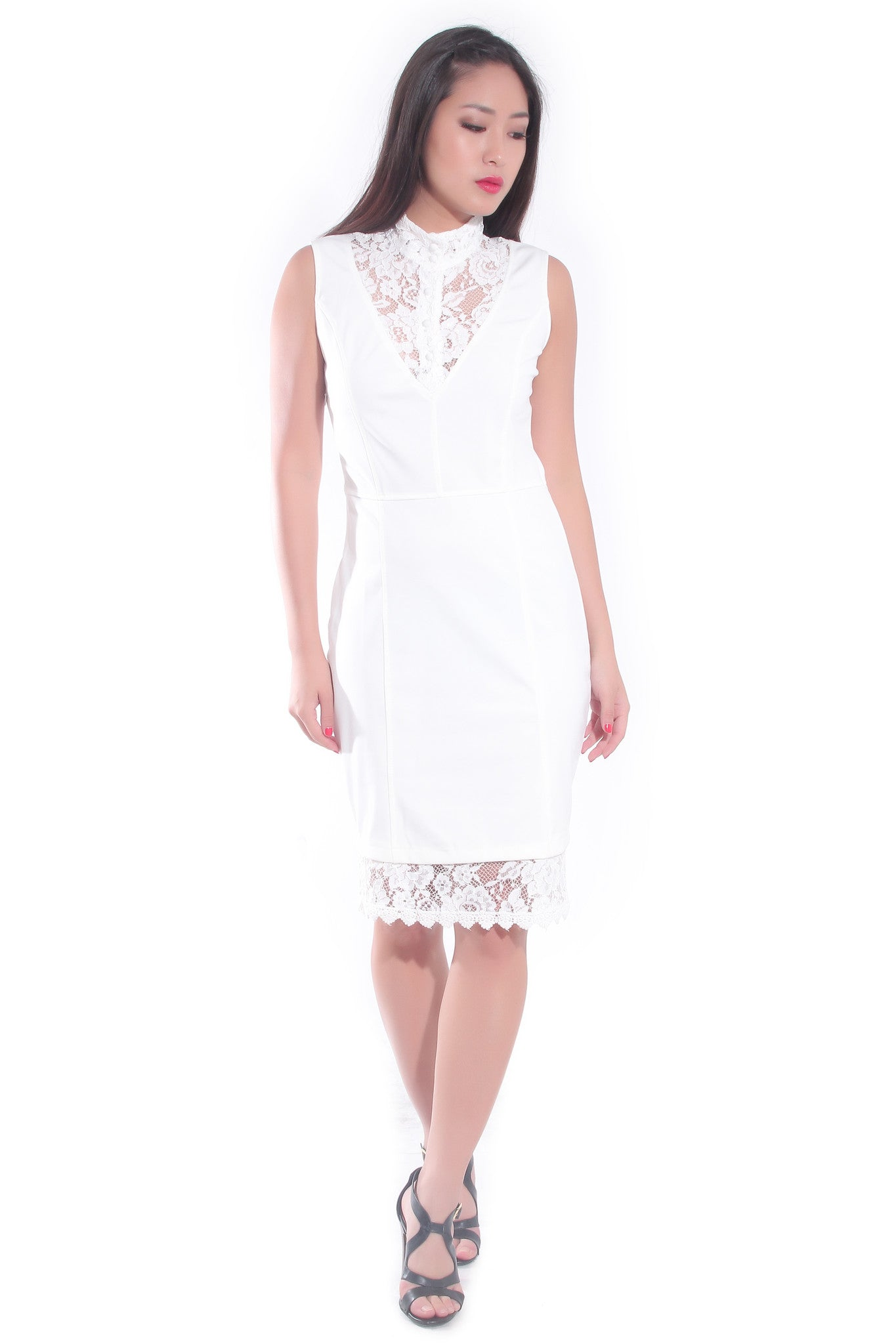 Mandarin Dress in White