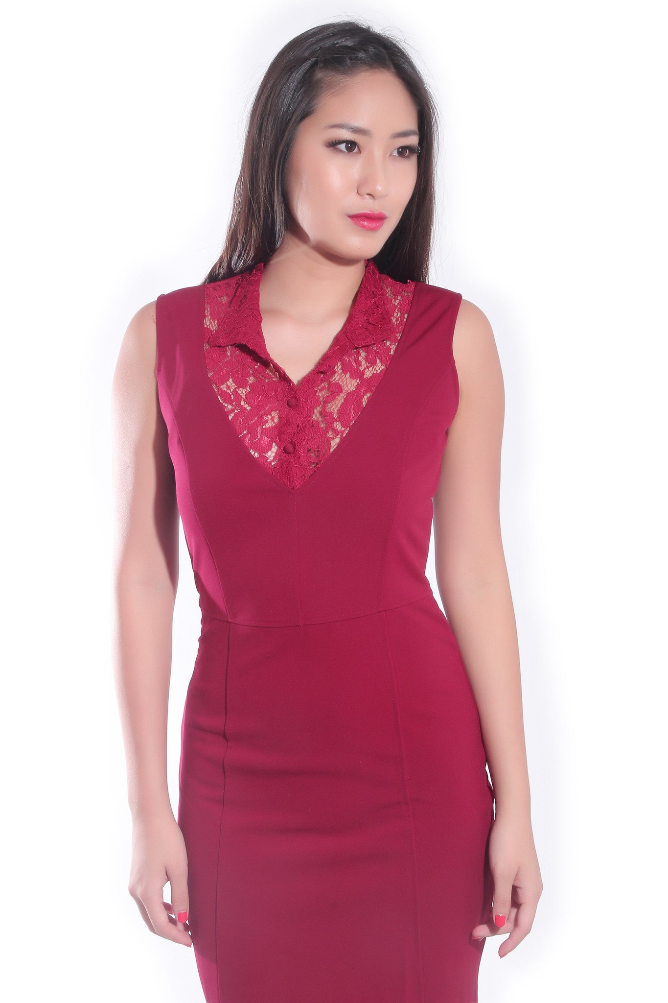 Mandarin Dress in Maroon