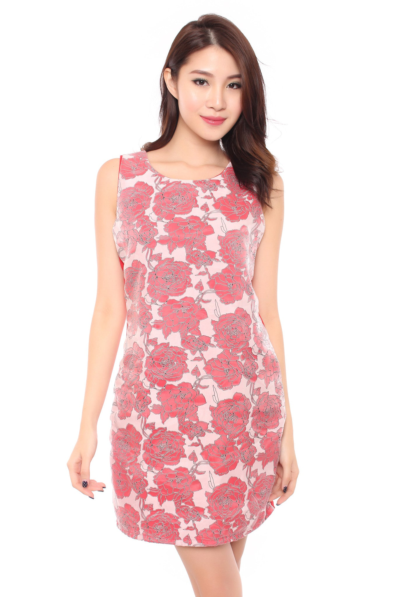 FLORAL ORIENTAL DRESS IN RED
