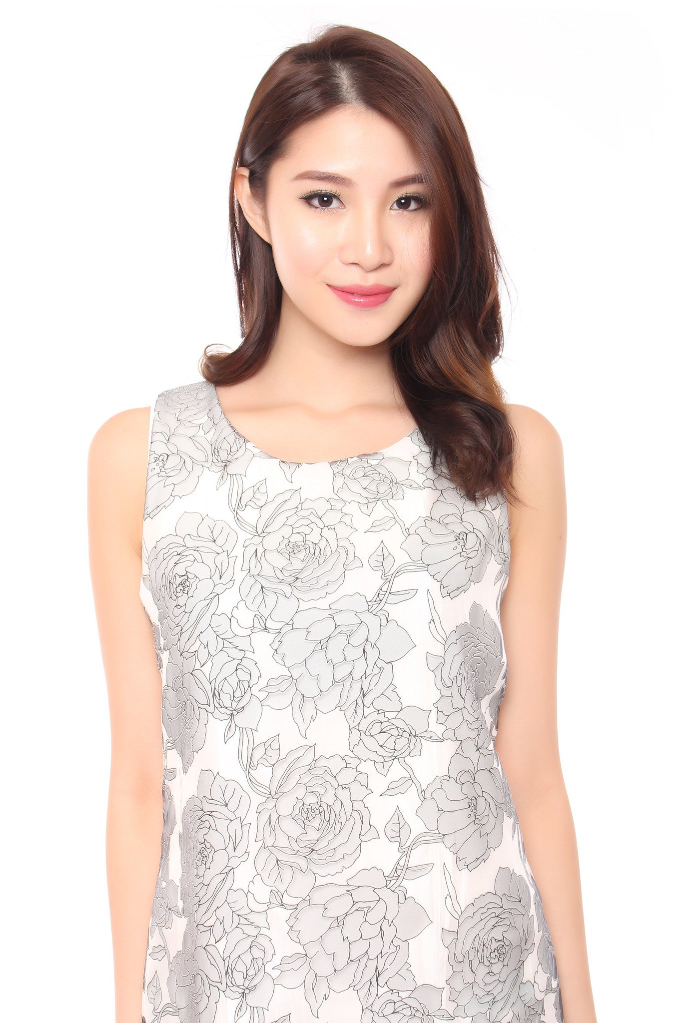FLORAL ORIENTAL DRESS IN WHITE